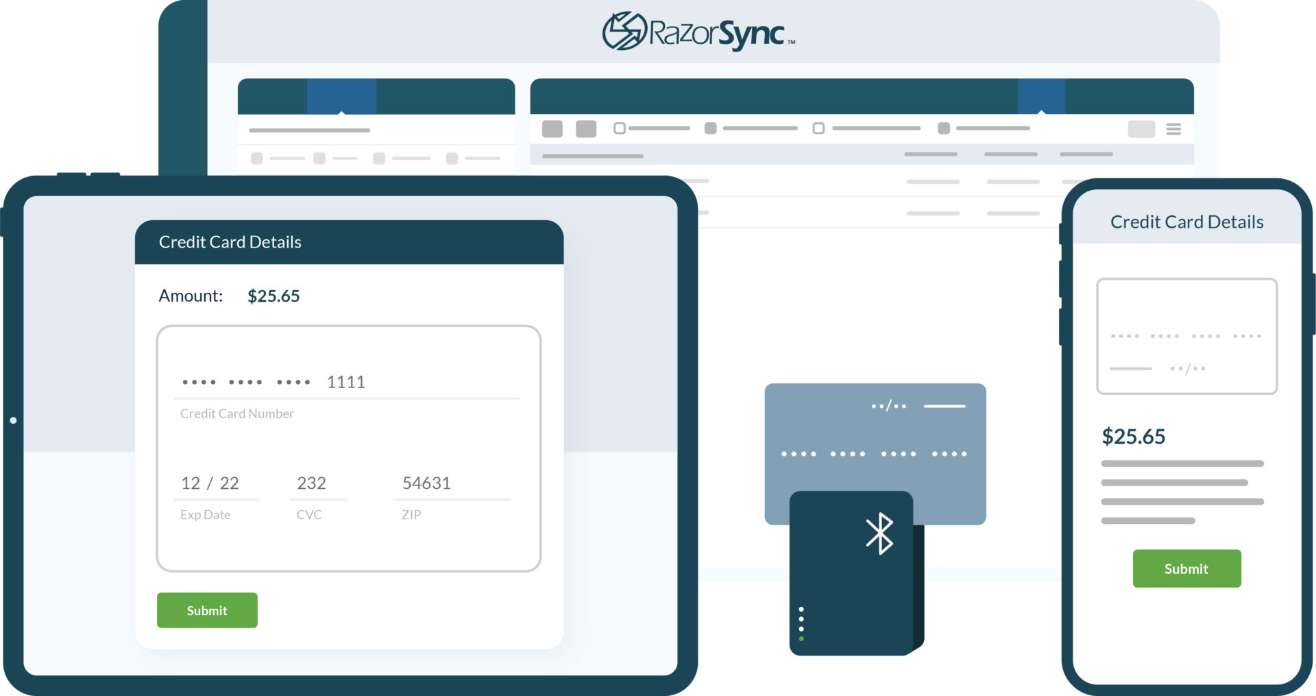 razorsync app screen overview and credit card payment details displayed on computer, tablet, and phone