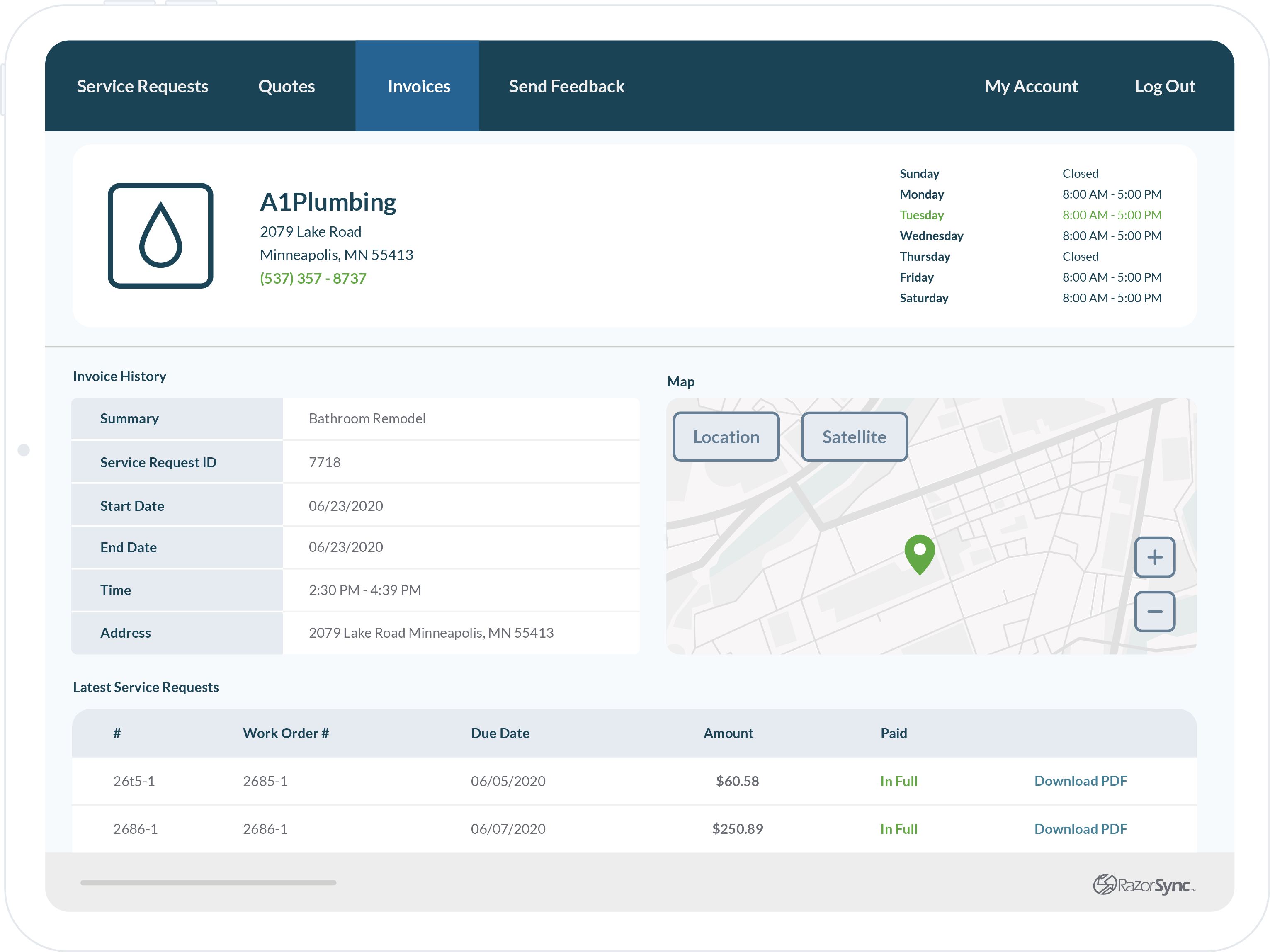 razorsync app screen company overview with map, invoice history, and service requests