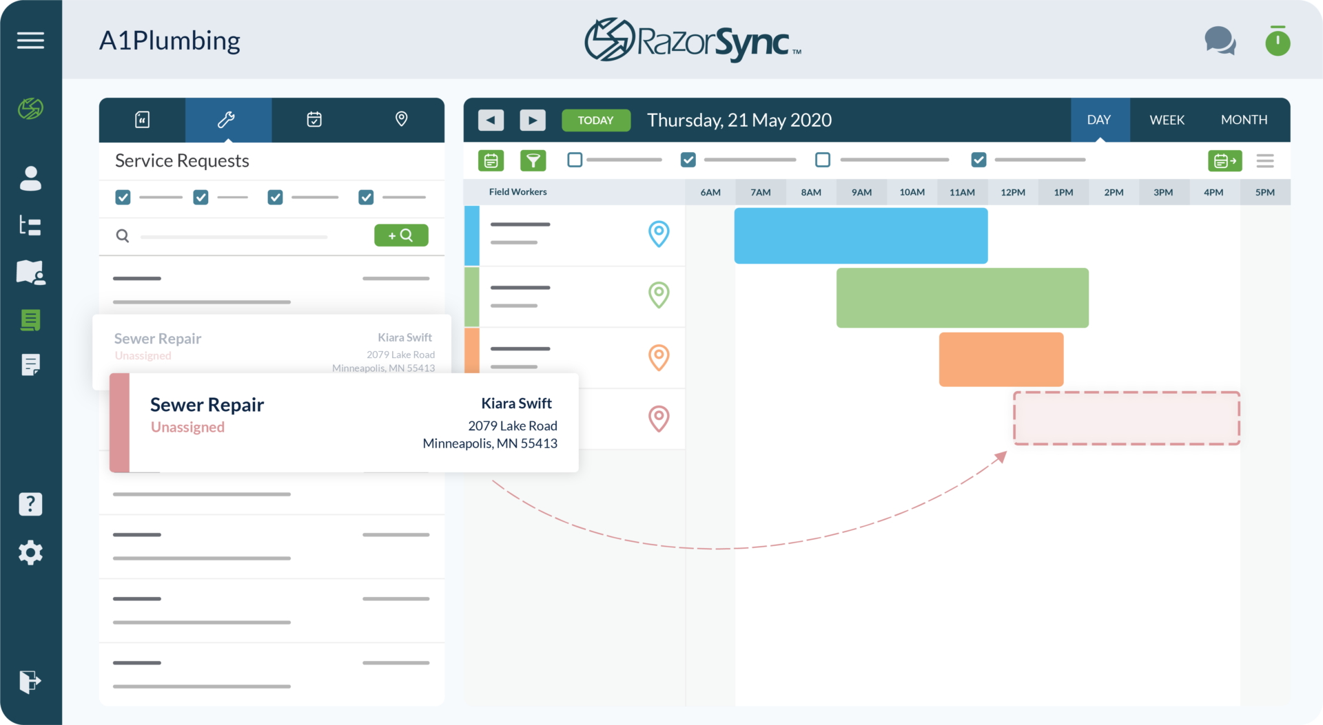 razorsync app screen with service requests and calendar